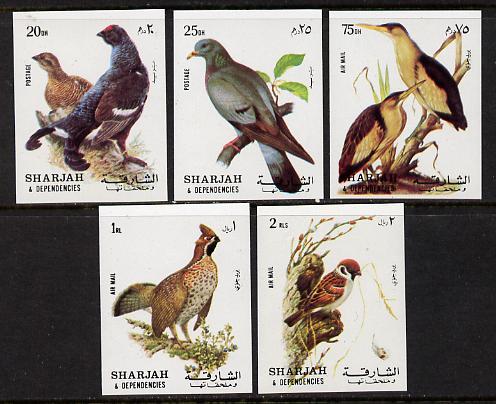 Sharjah 1972 Birds #1 imperf set of 5 unmounted mint, Mi 1036-40B