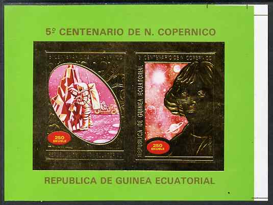 Equatorial Guinea 1974 500th Birth Anniversary of Copernicus imperf proof of 2 x 250E m/sheet in gold showing Man on Moon & Copernicus, from uncut proof sheet printed wit...