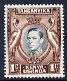 Kenya, Uganda & Tanganyika 1938-54 KG6 Crowned Cranes 1c black & chocolate P13.25 x 13.75 unmounted mint SG131a