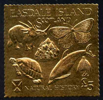 Easdale 1991 Natural History \A35 imperf souvenir sheet embossed in gold foil (perf) unmounted mint