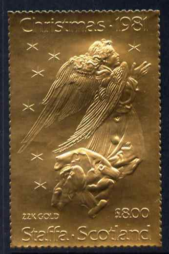 Staffa 1981 Christmas \A38 value (Angel after Durer) in 22 carat gold foil unmounted mint