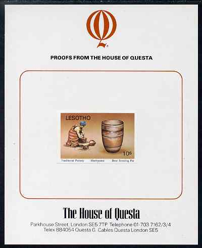 Lesotho 1980 Pottery 10s imperf proof mounted on House of Questa proof card, as SG 419