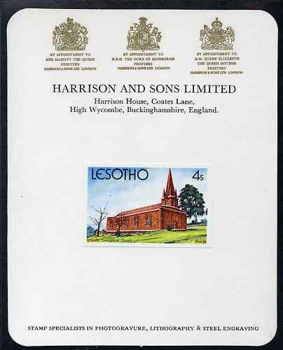Lesotho 1980 Christmas 4s Evangelical Church imperf proof mounted on Harrison & Sons Proof card, rare thus, as SG 426