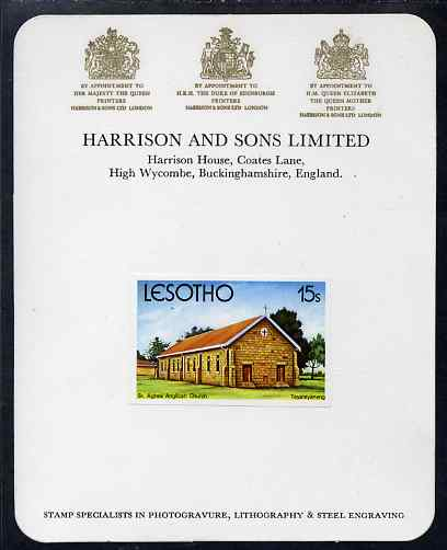 Lesotho 1980 Christmas 15s St Agnes' Anglican Church imperf proof mounted on Harrison & Sons Proof card, rare thus, as SG 427