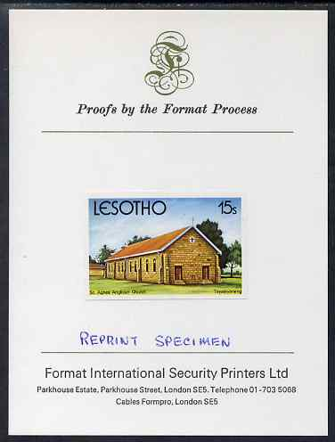 Lesotho 1980 Christmas 15s St Agnes' Anglican Church imperf proof mounted on Format International Proof card and notated REPRINT SPECIMEN rare thus, as SG 427 (Note Format & Harrisons shared the contract for this issue, this particular value having been produced by Harrisons)