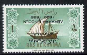 Ras Al Khaima 1965 Ships 1r with Abraham Lincoln overprint inverted, unmounted mint, SG 18var, stamps on constitutions, stamps on personalities, stamps on ships, stamps on usa presidents, stamps on americana, stamps on lincoln