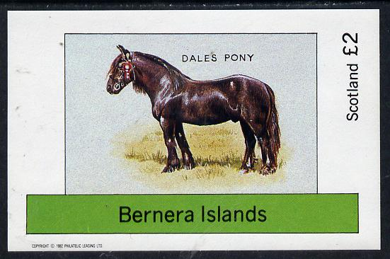 Bernera 1982 Ponies (Dales Pony) imperf deluxe sheet (�2 value) unmounted mint