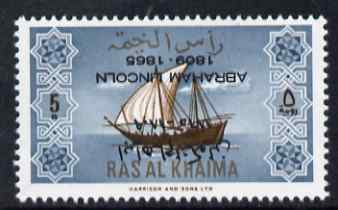 Ras Al Khaima 1965 Ships 5r with Abraham Lincoln overprint inverted, unmounted mint, SG 20var