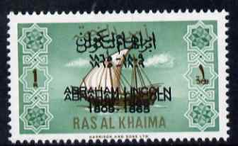 Ras Al Khaima 1965 Ships 1r with Abraham Lincoln overprint doubled, unmounted mint, SG 18var, stamps on constitutions, stamps on personalities, stamps on ships, stamps on usa presidents, stamps on americana, stamps on lincoln