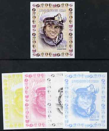 Chad 1997 Princess Diana 250f series #3 imperf deluxe sheet the set of 5 progressive proofs comprising the 4 individual colours plus all 4-colour composite, unmounted mint