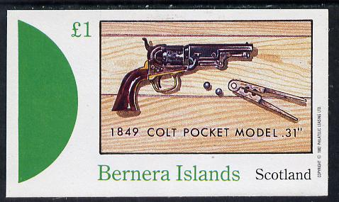 Bernera 1982 Pistols (Colt Pocket 31) imperf souvenir sheet (�1 value) unmounted mint