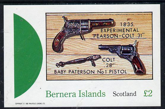 Bernera 1982 Pistols (Pearson Colt 31) imperf deluxe sheet (�2 value) unmounted mint