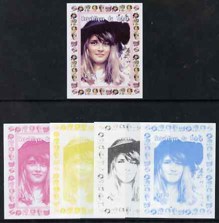 Chad 1997 Princess Diana 300f series #1 imperf deluxe sheet the set of 5 progressive proofs comprising the 4 individual colours plus all 4-colour composite, unmounted mint