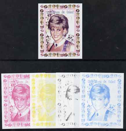 Chad 1997 Princess Diana 300f series #4 imperf deluxe sheet the set of 5 progressive proofs comprising the 4 individual colours plus all 4-colour composite, unmounted mint