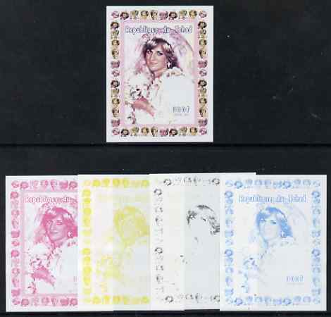 Chad 1997 Princess Diana 300f series #9 imperf deluxe sheet the set of 5 progressive proofs comprising the 4 individual colours plus all 4-colour composite, unmounted mint, stamps on personalities, stamps on diana, stamps on royalty, stamps on women