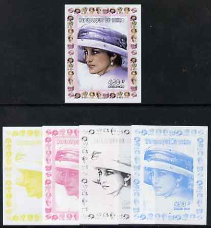 Chad 1997 Princess Diana 450f series #5 imperf deluxe sheet the set of 5 progressive proofs comprising the 4 individual colours plus all 4-colour composite, unmounted mint