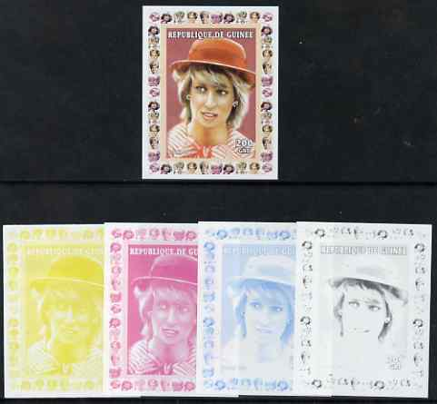 Guinea - Conakry 1997 Princess Diana 200f series #1 imperf deluxe sheet the set of 5 progressive proofs comprising the 4 individual colours plus all 4-colour composite, unmounted mint
