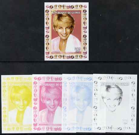 Guinea - Conakry 1997 Princess Diana 200f series #3 imperf deluxe sheet the set of 5 progressive proofs comprising the 4 individual colours plus all 4-colour composite, unmounted mint