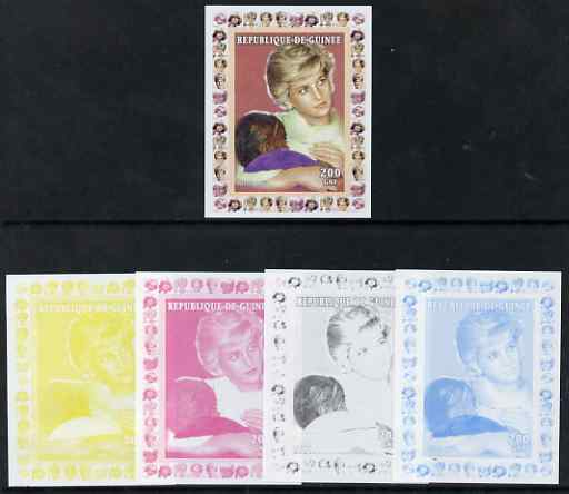 Guinea - Conakry 1997 Princess Diana 200f series #4 imperf deluxe sheet the set of 5 progressive proofs comprising the 4 individual colours plus all 4-colour composite, unmounted mint