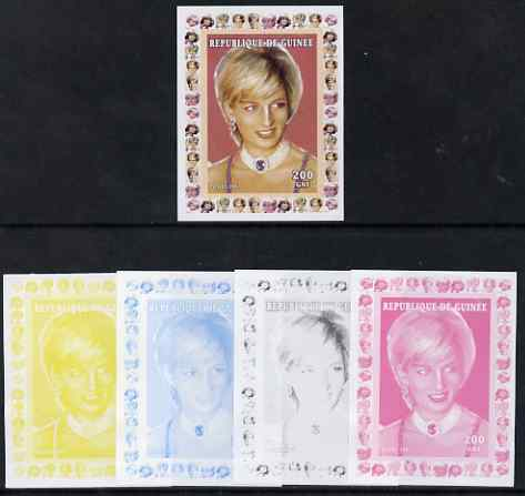 Guinea - Conakry 1997 Princess Diana 200f series #5 imperf deluxe sheet the set of 5 progressive proofs comprising the 4 individual colours plus all 4-colour composite, unmounted mint
