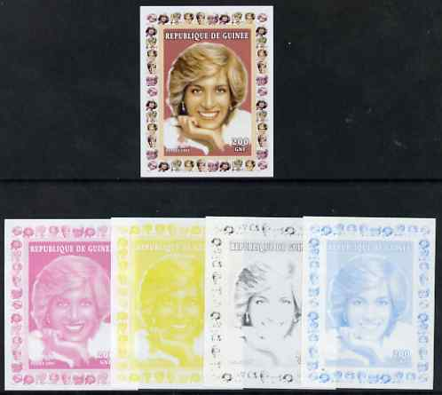 Guinea - Conakry 1997 Princess Diana 200f series #6 imperf deluxe sheet the set of 5 progressive proofs comprising the 4 individual colours plus all 4-colour composite, unmounted mint