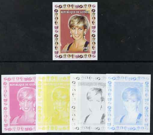 Guinea - Conakry 1997 Princess Diana 200f series #8 imperf deluxe sheet the set of 5 progressive proofs comprising the 4 individual colours plus all 4-colour composite, unmounted mint