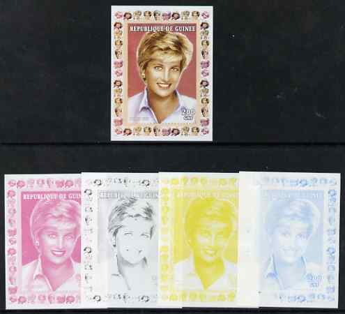 Guinea - Conakry 1997 Princess Diana 200f series #9 imperf deluxe sheet the set of 5 progressive proofs comprising the 4 individual colours plus all 4-colour composite, unmounted mint