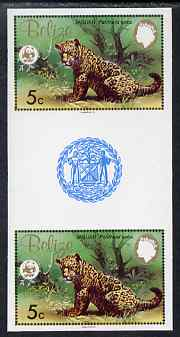 Belize 1983 WWF - Jaguar 5c (Jaguar Cub) imperf inter-paneau gutter pair from uncut proof sheet, unmounted mint, as SG 756