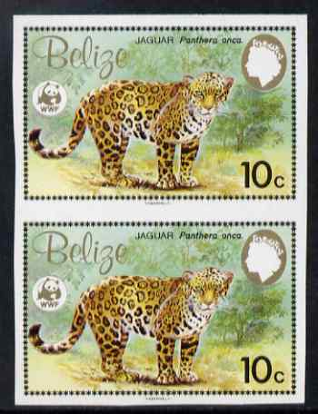 Belize 1983 WWF - Jaguar 10c (Adult Jaguar) imperf pair from uncut proof sheet, unmounted mint, as SG 757