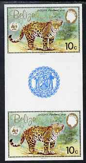 Belize 1983 WWF - Jaguar 10c (Adult Jaguar) imperf inter-paneau gutter pair from uncut proof sheet, unmounted mint, as SG 757