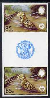 Belize 1983 WWF - Jaguar 85c (Jaguar in river) imperf inter-paneau gutter pair from uncut proof sheet, unmounted mint, as SG 758