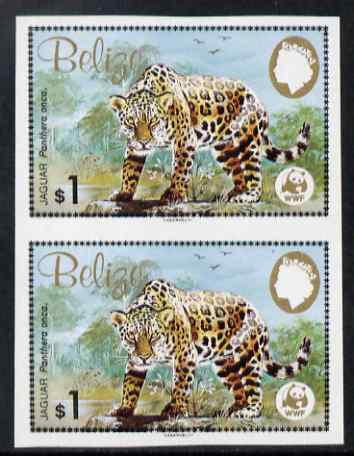 Belize 1983 WWF - Jaguar $1 (Jaguar on rock) imperf pair from uncut proof sheet, unmounted mint, as SG 759