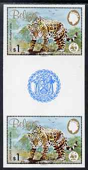 Belize 1983 WWF - Jaguar $1 (Jaguar on rock) imperf inter-paneau gutter pair from uncut proof sheet, unmounted mint, as SG 759