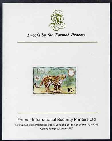 Belize 1983 WWF - Jaguar 10c (Adult Jaguar) imperf proof mounted on Format International Proof card, as SG 757