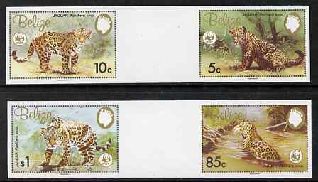 Belize 1983 WWF - Jaguar the set of 4 in imperf inter-paneau se-tenant horizontal gutter pairs from uncut proof sheet, unmounted mint and rare, as SG 756-9