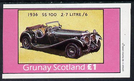 Grunay 1982 Jaguar Cars (1936 SS100) imperf souvenir sheet (�1 value) unmounted mint