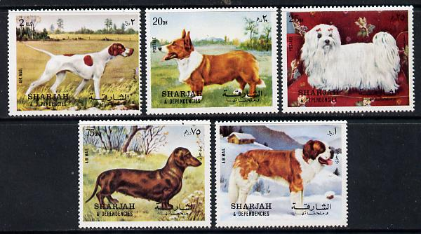 Sharjah 1972 Dogs set of 5 unmounted mint (Mi 1024-28A)