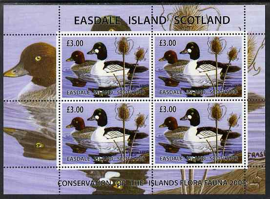 Easdale 2004 Conservation sheetlet containing 4 x \A33 values showing Ducks, unmounted mint