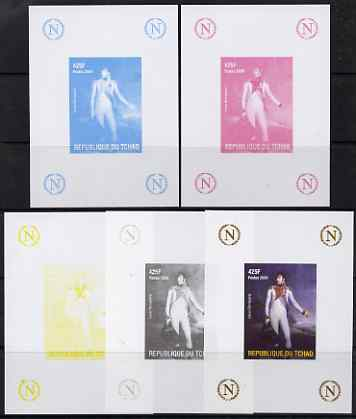 Chad 2009 Napoleon #7 Louis Bonaparte deluxe sheet, the set of 5 imperf progressive proofs comprising the 4 individual colours plus all 4-colour composite, unmounted mint