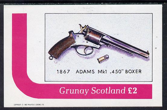 Grunay 1982 Pistols (Adams) imperf deluxe sheet (�2 value) unmounted mint