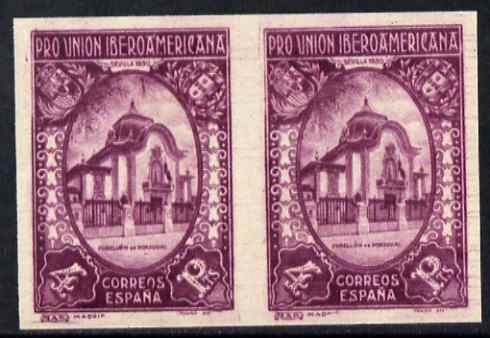 Spain 1930 Portuguese Pavillion 4p purple (from Spanish-American Exhibition) imperf pair unmounted mint but some offset, as SG 640