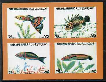 Yemen - Republic 1982 (?) Fish sheetlet containing 4 x 75f values imperf proof on glossy card unmounted mint