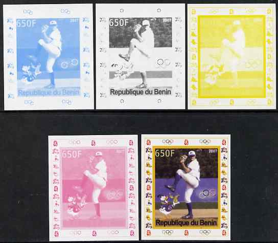 Benin 2007 Baseball #01 deluxe sheet with Olympic Rings & Disney Character, the set of 5 imperf progressive proofs comprising the 4 individual colours plus all 4-colour composite, unmounted mint