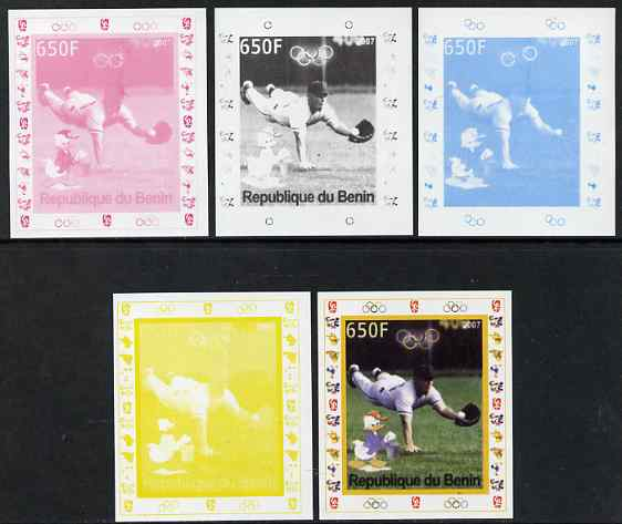 Benin 2007 Baseball #03 deluxe sheet with Olympic Rings & Disney Character, the set of 5 imperf progressive proofs comprising the 4 individual colours plus all 4-colour c...
