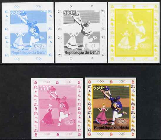 Benin 2007 Baseball #04 deluxe sheet with Olympic Rings & Disney Character, the set of 5 imperf progressive proofs comprising the 4 individual colours plus all 4-colour composite, unmounted mint