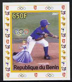 Benin 2007 Baseball #05 individual imperf deluxe sheet with Olympic Rings & Disney Character unmounted mint