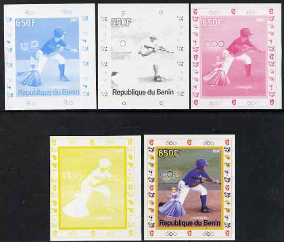 Benin 2007 Baseball #05 deluxe sheet with Olympic Rings & Disney Character, the set of 5 imperf progressive proofs comprising the 4 individual colours plus all 4-colour c...