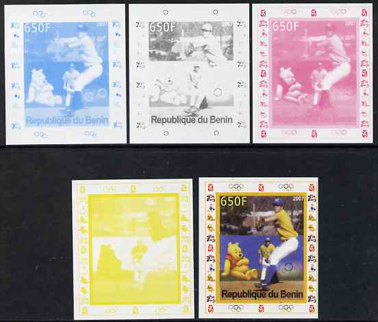 Benin 2007 Baseball #06 deluxe sheet with Olympic Rings & Disney Character, the set of 5 imperf progressive proofs comprising the 4 individual colours plus all 4-colour composite, unmounted mint