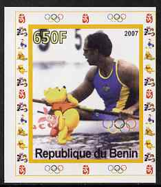 Benin 2007 Rowing #01 individual imperf deluxe sheet with Olympic Rings & Disney Character unmounted mint