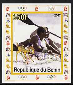 Benin 2007 Rowing #03 individual imperf deluxe sheet with Olympic Rings & Disney Character unmounted mint